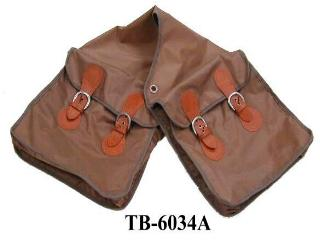 LARGE BROWN NYLON SADDLE BAG