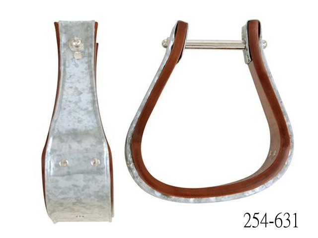 SLOPED GALVANIZED METAL BOUND WOODEN BELL STIRRUPS